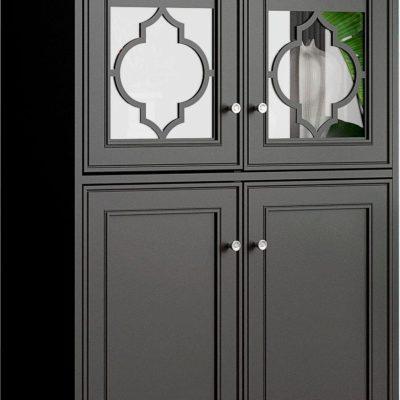 Witryna ze szklaną wstawką w orientalnym stylu, antracytowa
