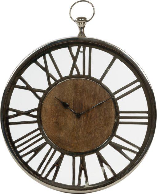 Ozdobny zegar z drewna mango, w stylu industrialnym