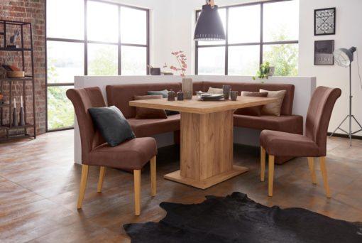 Szlachetne brązowe krzesła tapicerowane, nogi dębowe