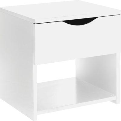Biała szafka nocna, nowoczesna, w połysku