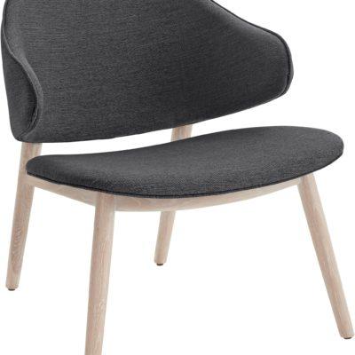 Szary fotel w skandynawskim stylu, jesionowa podstawa