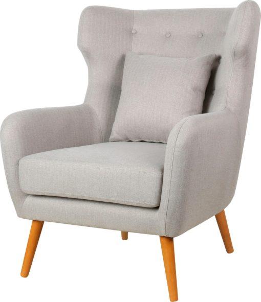 Wygodny, jasnoszary fotel, jak uszak