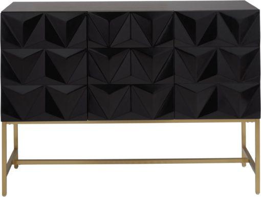 Trzydrzwiowy kredens z geometrycznym frontem, czarny