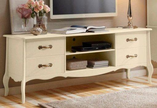 Przepiękna, kremowa szafka pod tv w stylu ludwikowskim
