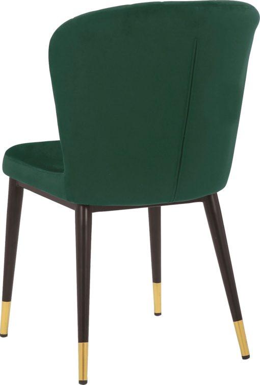 Dwa stylowe krzesła w kolorze głębokiej zieleni