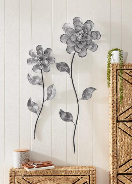 Dekoracja ścienna dwa kwiaty z metalu, w stylu vinage