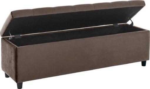 Tapicerowana ławka ze schowkiem 100cm, beżowo-brązowa