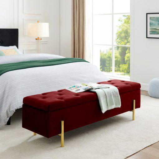 Ławka ze schowkiem i złotymi nogami w odcieniach czerwieni