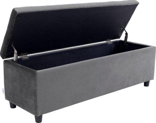 Szara ławka ze schowkiem 120 cm, luksusowa mikrofibra