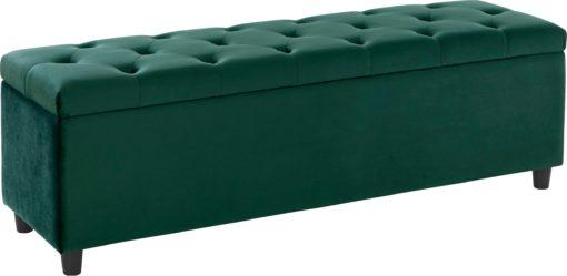 Tapicerowana ławka ze schowkiem 100cm, zielona