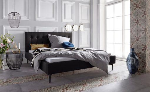 Szlachetne, tapicerowane łóżko, czarne 160x200 cm