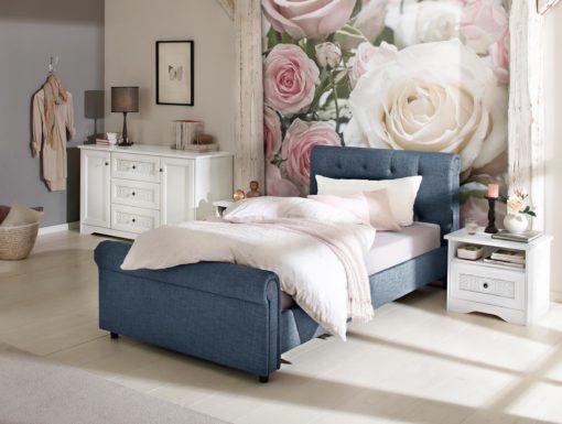 Eleganckie, tapicerowane łóżko 100x200 cm, niebieskie