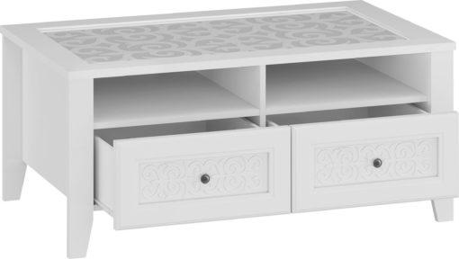 Biały stolik z dekorowanym blatem i ornamentem na szufladach