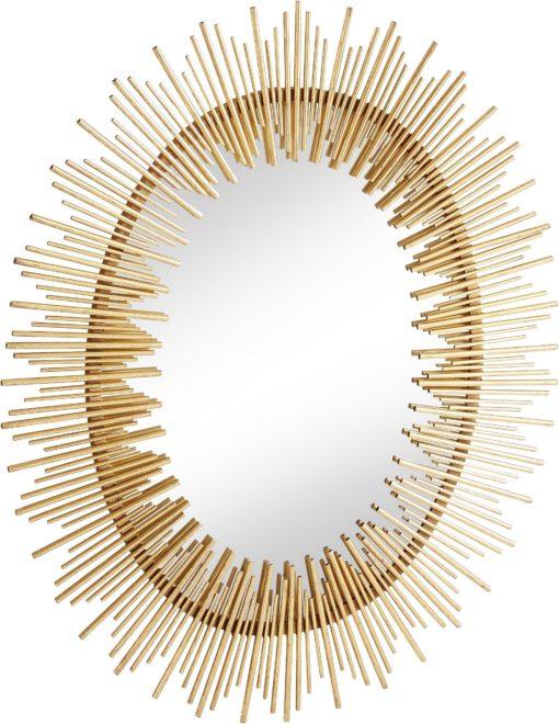Złote lustro w stylu retro, rama a'la promienie słońca