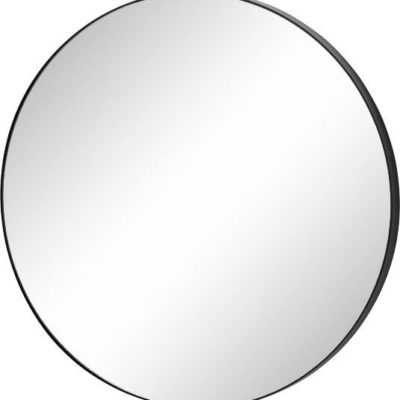 Okrągłe lustro w czarnej ramie, 50 cm średnicy