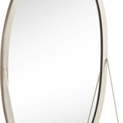 Ciekawe, owalne lustro z półką w kolorze antycznego srebra
