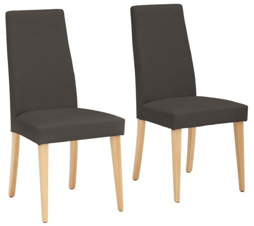 Proste krzesła, ciemny brąz, sztuczna skóra - 2 sztuki
