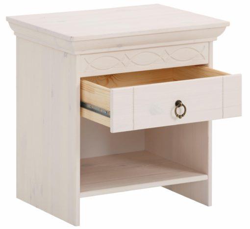 Szafka nocna z szufladką w rustykalnym stylu, biała