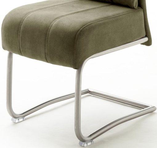Oliwkowe krzesła na metalowej ramie - 2 sztuki, sprężyny w siedzisku