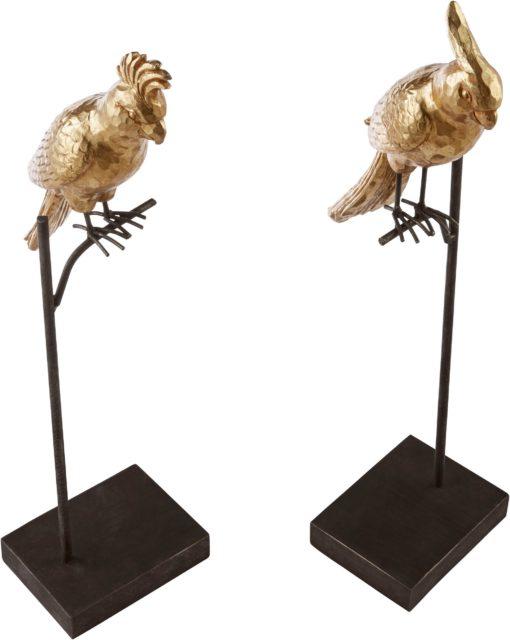 Dwie złote figurki ze sztucznego kamienia, papugi