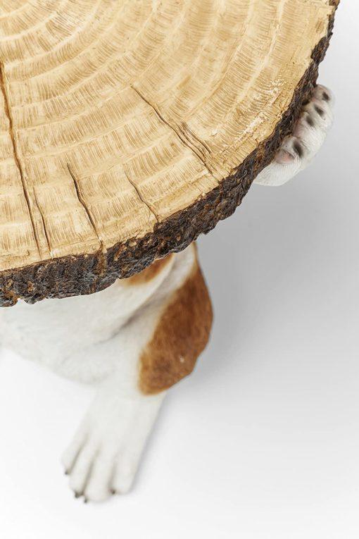 Oryginalny stolik boczny w kształcie pieska z plastrem drewna