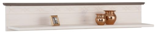 Regał i półka ścienna z drewna sosnowego, biało-szary