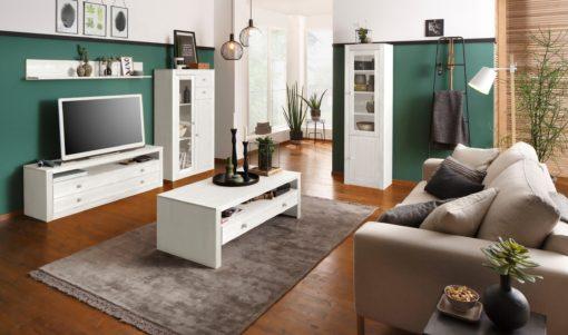 Sosnowa szafka rtv z szufladami, rustykalna, biała