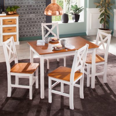 Sosnowy stół do jadalni 100x70 cm, biały z miodowym blatem