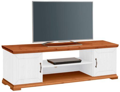 Sosnowa szafka pod TV biało-miodowa, 157 cm