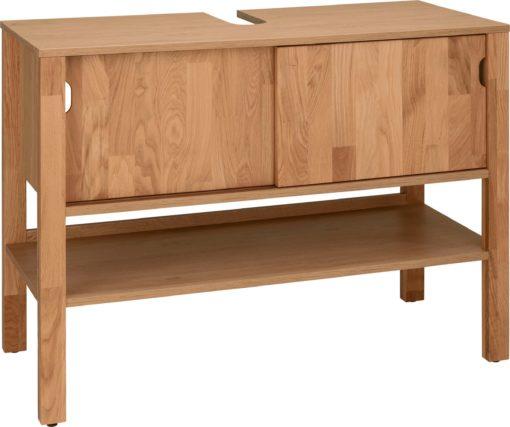Nowoczesna szafka pod umywalkę, drzwi i nogi z litego dębu
