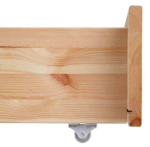 Praktyczna, sosnowa szuflada pod łóżko, miodowa