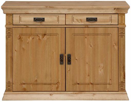 Sosnowa komoda pięknie zdobiona, 2 szuflady, 112 cm