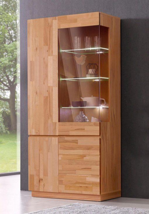 Elegancka witryna ze szklanymi drzwiami, front z litego buku