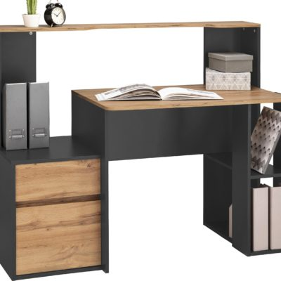 Nowoczesne biurko o przemyślanym układzie, grafitowo-dębowe