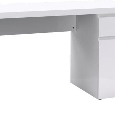 Nowoczesne białe biurko z szufladą i schowkiem