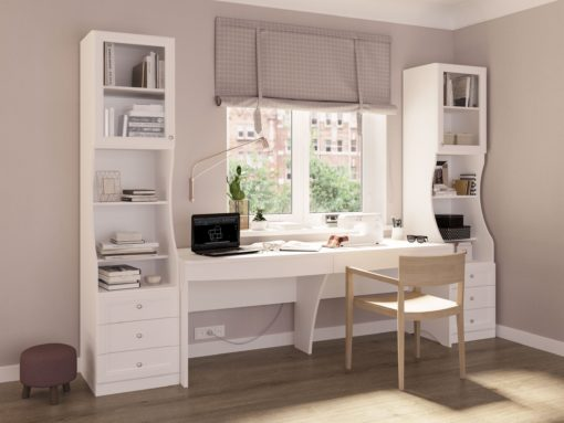 Białe podwójne biurko z szufladami, minimalistyczne