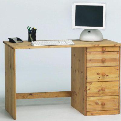Proste biurko z drewna sosnowego z szufladami
