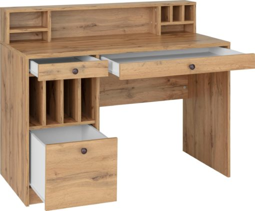 Debowe biurko z praktycznymi przegrodami do przechowywania