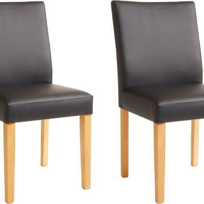 Klasyczne czarne krzesła, bukowe, sztuczna skóra - 2 sztuki