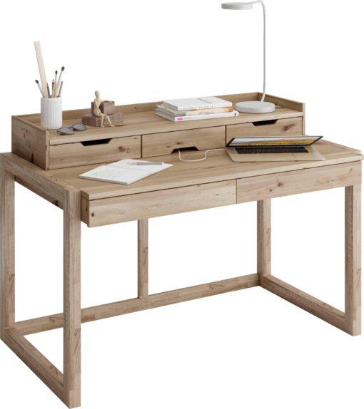 Drewniana nadstawka na biurko z półką i szufladami