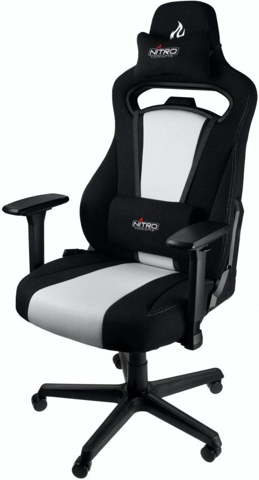 Fotel gamingowy Nitro Concepts czarno-biały z poduszką