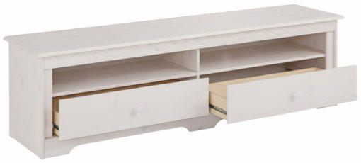 Rustykalna sosnowa szafka rtv z dwiema szufladkami