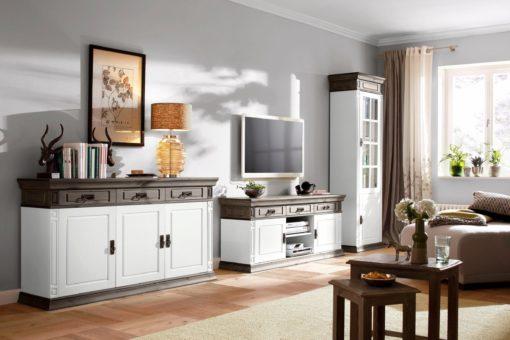 Sosnowa szafka RTV pięknie zdobiona, biały-wenge