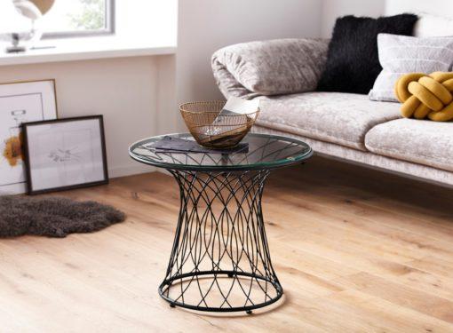 Stolik w stylu industrialnym, metalowa rama, szklany blat
