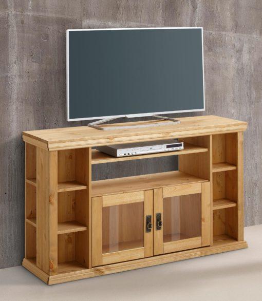 Sosnowa szafka pod telewizor, półki , szklane drzwi