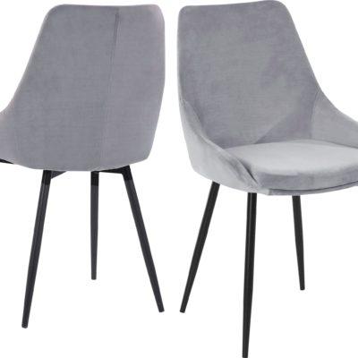 Tapicerowane, szare krzesła o wyrafinowanym designie - 2 sztuki