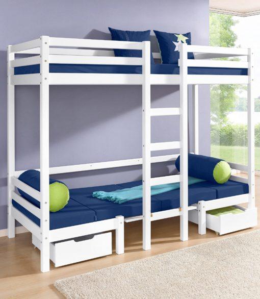 Dwie białe szuflady pod łóżeczko dziecięce