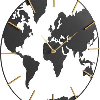 Ozdobny metalowy zegar w kształcie mapy, czarno-złoty