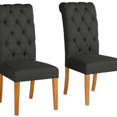 Eleganckie, antracytowe krzesła z pikowaniem i kołatką