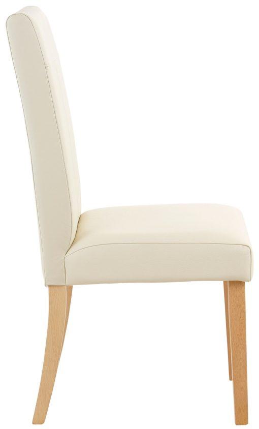 Krzesła tapicerowane sztuczną skórą, drewniana rama - beżowe